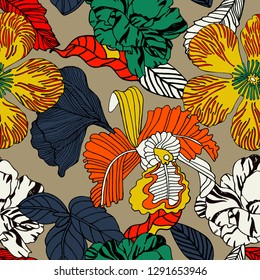 Bright pattern design with tropical flowers and fruits.