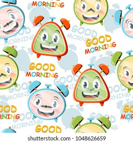 A bright pattern with funny cartoon alarms.