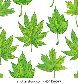 Bright pattern from green leaves, background leaves, summer fabric and pattern of green leaves, Vector illustration.