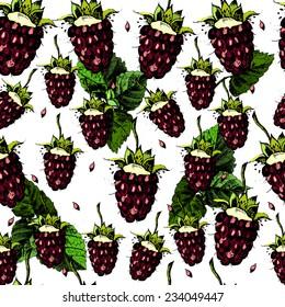 Bright pattern with juicy and blackberries.  The template can be used for packaging, printing on cups, bags, wallpaper, textiles.