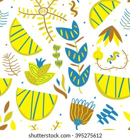 Bright pattern with lemons. Seamless vector pattern with lemons and flowers. Tasty mood for great artworks