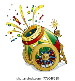 A bright, patterned circus gun on beautiful wheels shoots sweets and colorful confetti. Circus object in the style of a card. Inventory. Children`s vector illustration.