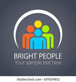 Bright people in the circle. Logo design template. Vector illustration.
