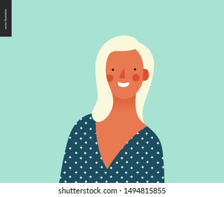 Bright people portrait - hand drawn flat style vector design concept illustration of young blond woman, face and shoulders avatar. Flat style vector icon