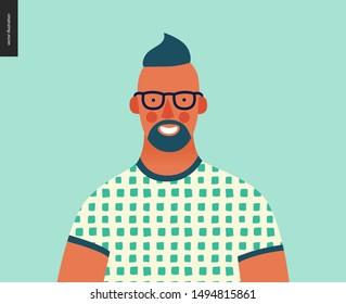 Bright people portrait - hand drawn flat style vector design concept illustration of young bearded man wearing glasses, face and shoulders avatar. Flat style vector icon