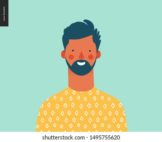Bright people portrait - hand drawn flat style vector design concept illustration of young bearded brunette man, face and shoulders avatar. Flat style vector icon