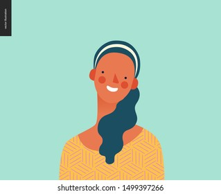 Bright people portrait - hand drawn flat style vector design concept illustration of young brunette woman, face and shoulders avatar. Flat style vector icon