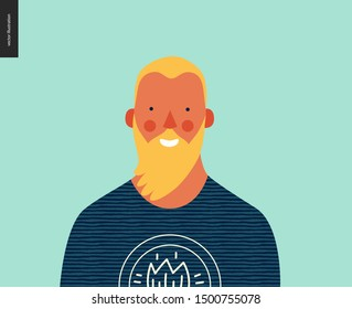 Bright people portrait - hand drawn flat style vector design concept illustration of young blond bearded hipster man, face and shoulders avatar. Flat style vector icon