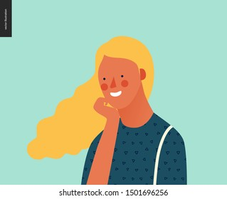 Bright people portrait - hand drawn flat style vector design concept illustration of young smiling blond woman, face and shoulders avatar. Flat style vector icon