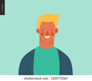 Bright people portrait - hand drawn flat style vector design concept illustration of young blond man, face and shoulders avatar. Flat style vector icon