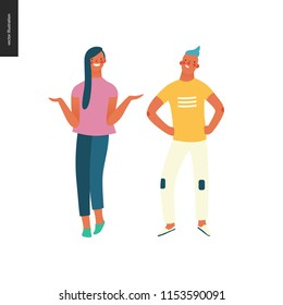 Bright people portraits - hand drawn flat style vector design illustration of a young brunette sunburnt woman standing writhing her hands and a smiling boy standing with arms akimbo, concept