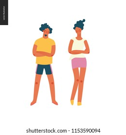 Bright people portraits -hand drawn flat style vector design illustration of serious young sunburnt man wearing shorts and a young woman standing standing with their arms crossed, concept illustration