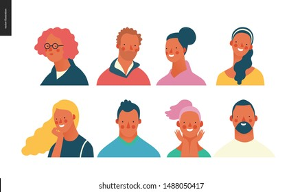 Bright people portraits set - hand drawn flat style vector design concept illustration of young men and women, male and female faces and shoulders avatars. Flat style vector icons set