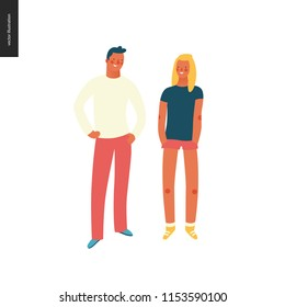 Bright people portraits - sunburnt young man and woman, hand drawn flat style vector design illustration of smiling boy standing with arms akimbo and a girl with hands in pockets, concept illustration