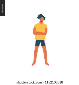 Bright people portraits - young man, hand drawn flat style vector doodle design illustration of a serious young sunburnt man standing with his arms crossed, concept illustration