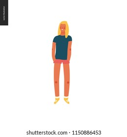 Bright people portraits - young woman, hand drawn flat style vector doodle design illustration of a smiling sunburnt girl standing with her hands in pockets, concept illustration
