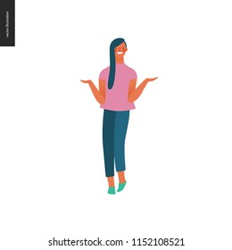 Bright people portraits - young woman, hand drawn flat style vector doodle design illustration of a smiling sunburnt girl standing writhing her hands, concept illustration