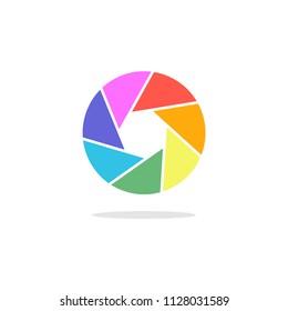 Bright phote camera aperture symbol. Lens diaphragm logo