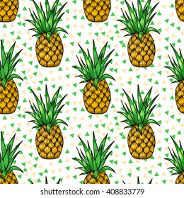 Bright pineapples. Vector seamless pattern