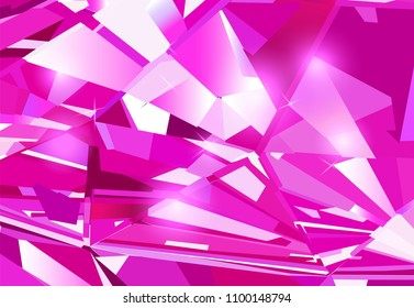 Bright pink abstract background made of ruby crystals. Vector design.