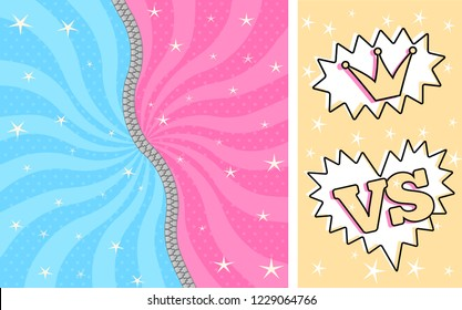 Bright pink blue striped on pale background for  themed party in style LOL doll surprise. Fight romantic women/men comics. Birthday cute invitation with zipper. Unzipped, closed. Lightning battle game