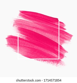 Bright pink brush stroke paint abstract background - Vector. Make up lipstick design for beauty card, shop logo and sale banner.