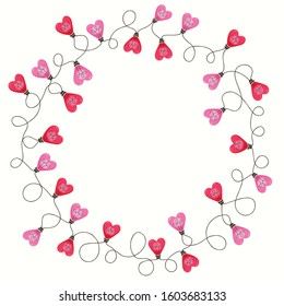 Bright Pink Colorful Valentine's Day Holiday Intertwined Heart Shape String Lights on White Background Round Circle Frame. Cute Festive Holiday Copy Space Banner for Greeting Cards and Web