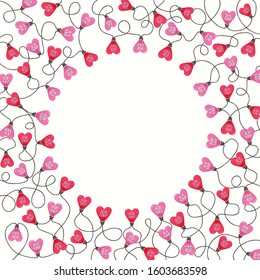 Bright Pink Colorful Valentine's Day Holiday Intertwined Heart Shape String Lights on White Background Square Round Frame. Cute Festive Holiday Copy Space Banner for Greeting Cards and Web