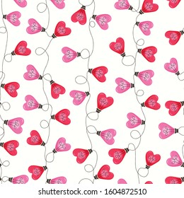 Bright Pink Colorful Valentine's Day Holiday Intertwined Heart Shape String Lights Forming Vertical Stripes on White Background Vector Seamless Pattern. Cute Festive Love Background. Girly Print