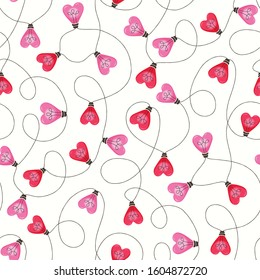 Bright Pink Colorful Valentine's Day Holiday Intertwined Heart Shape String Lights on White Background Vector Seamless Pattern. Cute Festive Love Background. Girly Print