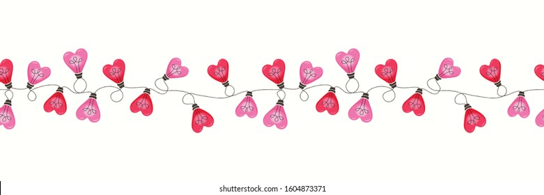 Bright Pink Colorful Valentine's Day Holiday Intertwined Heart Shape String Lights on White Background Vector Seamless Horizontal Border Pattern. Cute Festive Love Background. Girly Print