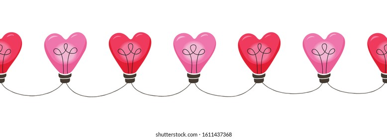 Bright Pink Colorful Valentine's Day Holiday Intertwined Heart Shape String Lights Forming Vertical Stripes on White Background Vector Seamless Horizontal Border. Cute Festive Love Background
