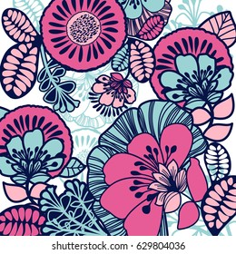 Bright pink floral background. Beautiful handmade card
