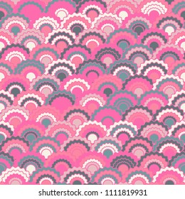 Bright pink grey fish scales squama background, vector seamless fabric pattern, tiled textile print. Classic japanese squama scales seamless arc tiles design. Dragon skin pattern.