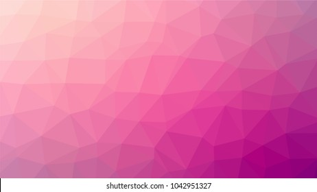 Bright pink low polygonal crystal background. Triangular polygon  pattern. Low poly vector illustration. Low polygonal backdrop