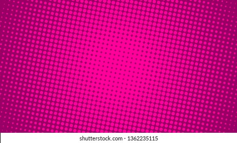 Bright pink and magenta retro pop art background with dots. Vector abstract background with halftone dots design.