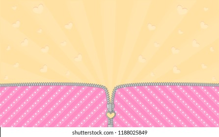 Bright pink striped background for a themed party in style LOL doll surprise. Open vector zipper and cute lock. Yellow birth backdrop template. Rays and flying hearts with blank space for text invite