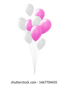 Bright pink and white balloons on white background