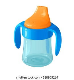 bright plastic children's training cup with a nose and handles
