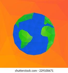 Bright polygonal vector illustration of earth planet