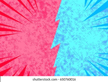 Bright pop art comic style opposite sides conflict abstract page template. Blank story retro layout template representing opposite sides divided by border. Spotted and bright. Vector illustration
