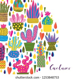 Bright postcard with decorative cacti.