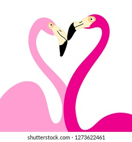 Bright postcard graphics in love pink flamingos on a white background
