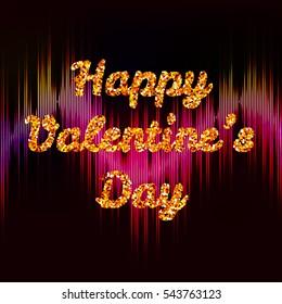bright postcard Happy Valentine's Day with glitter