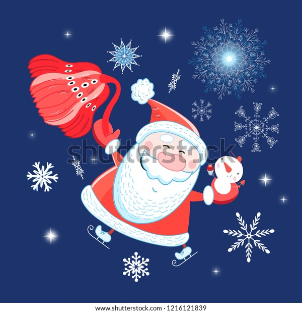 Bright postcard New years portrait of Santa Claus on a blue background