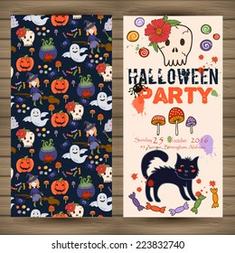 bright postcard on Halloween in cartoon style. vector