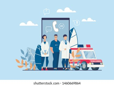 Bright Poster Ambulance Application Cartoon Flat. People in White Coats Stand on Background Smartphone and an Ambulance. Round Clock Access to Online Help  Cartoon. Vector Illustration.