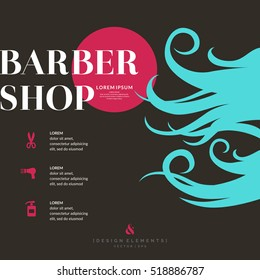 A bright poster for the Barber shop. Elements to cutting and styling hair. Vector illustration.