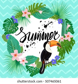 Bright poster with exotic plants, flowers and toucan bird. Trendy summer template. Tropic elements in bright colors.