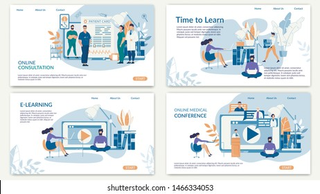 Bright Poster Inscription Online Consultation. Banner Is Written E-learning, Time to Learn, Online Medical Conference. Banner Students Study at Medical University. Vector Illustration.